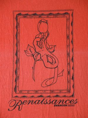 Photograph of logo of SwanCon 2006: Renaissances - red background, black frame surrounding line drawing of rose through face mask